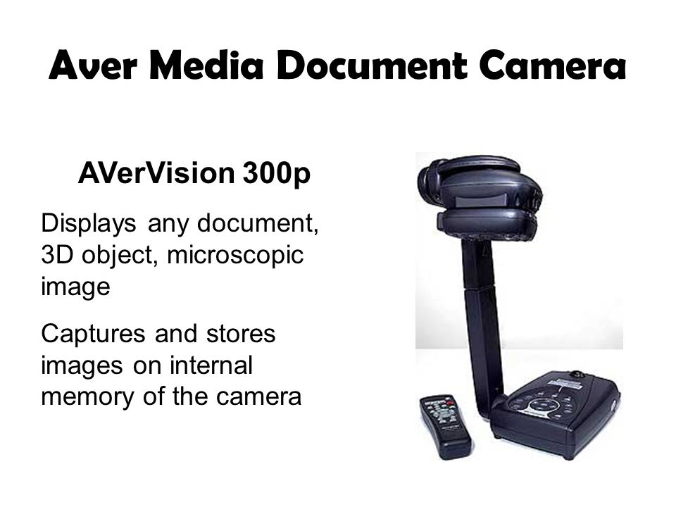 Aver Media Document Camera AVerVision 300p Displays any document, 3D object, microscopic image Captures and stores images on internal memory of the camera