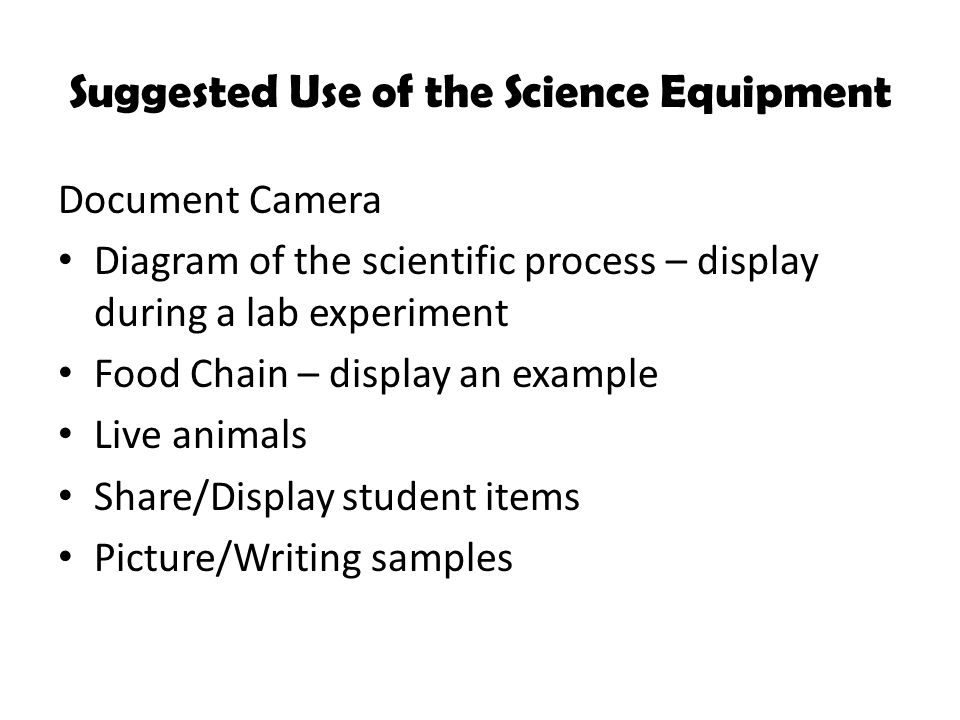 Suggested Use of the Science Equipment Document Camera Diagram of the scientific process – display during a lab experiment Food Chain – display an example Live animals Share/Display student items Picture/Writing samples