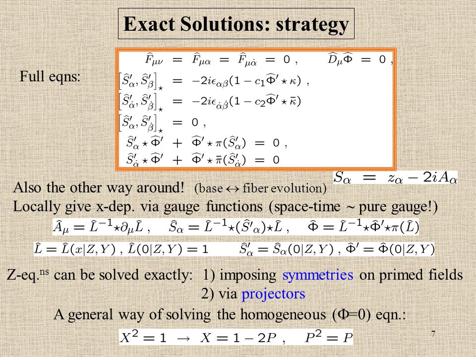 7 Exact Solutions: strategy Also the other way around.