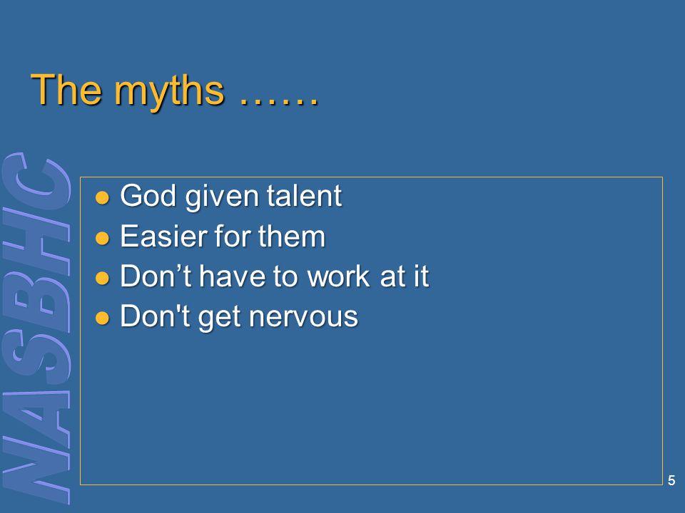 5 The myths …… God given talent God given talent Easier for them Easier for them Don't have to work at it Don't have to work at it Don t get nervous Don t get nervous