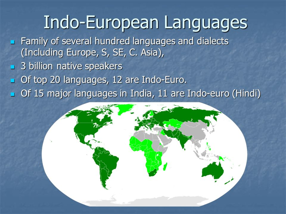 Indo-European Languages Family of several hundred languages and dialects (Including Europe, S, SE, C.
