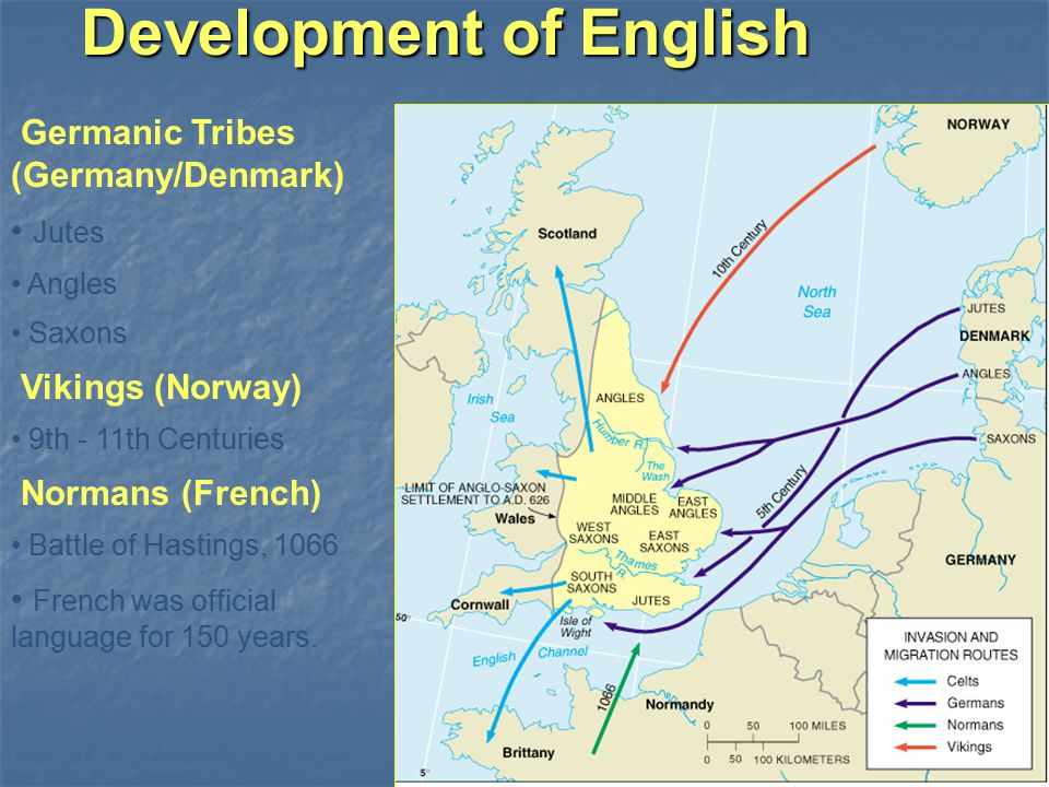Development of English Germanic Tribes (Germany/Denmark) Jutes Angles Saxons Vikings (Norway) 9th - 11th Centuries Normans (French) Battle of Hastings, 1066 French was official language for 150 years.