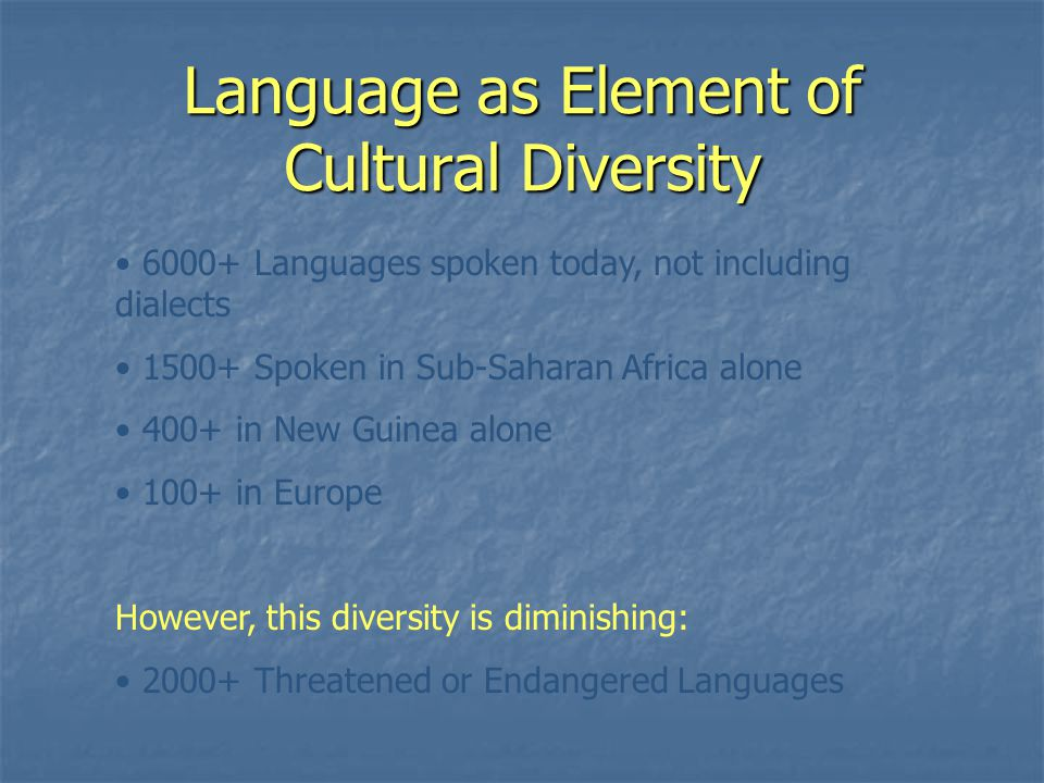 Language as Element of Cultural Diversity 6000+ Languages spoken today, not including dialects 1500+ Spoken in Sub-Saharan Africa alone 400+ in New Guinea alone 100+ in Europe However, this diversity is diminishing: 2000+ Threatened or Endangered Languages