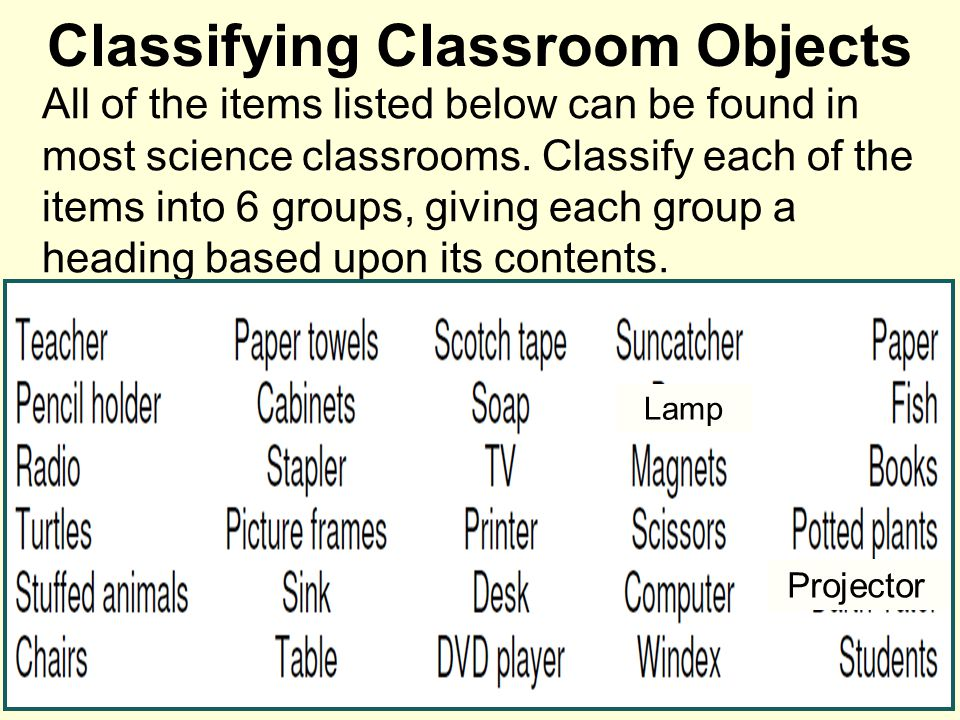 Classifying Classroom Objects All of the items listed below can be found in a Science classroom.