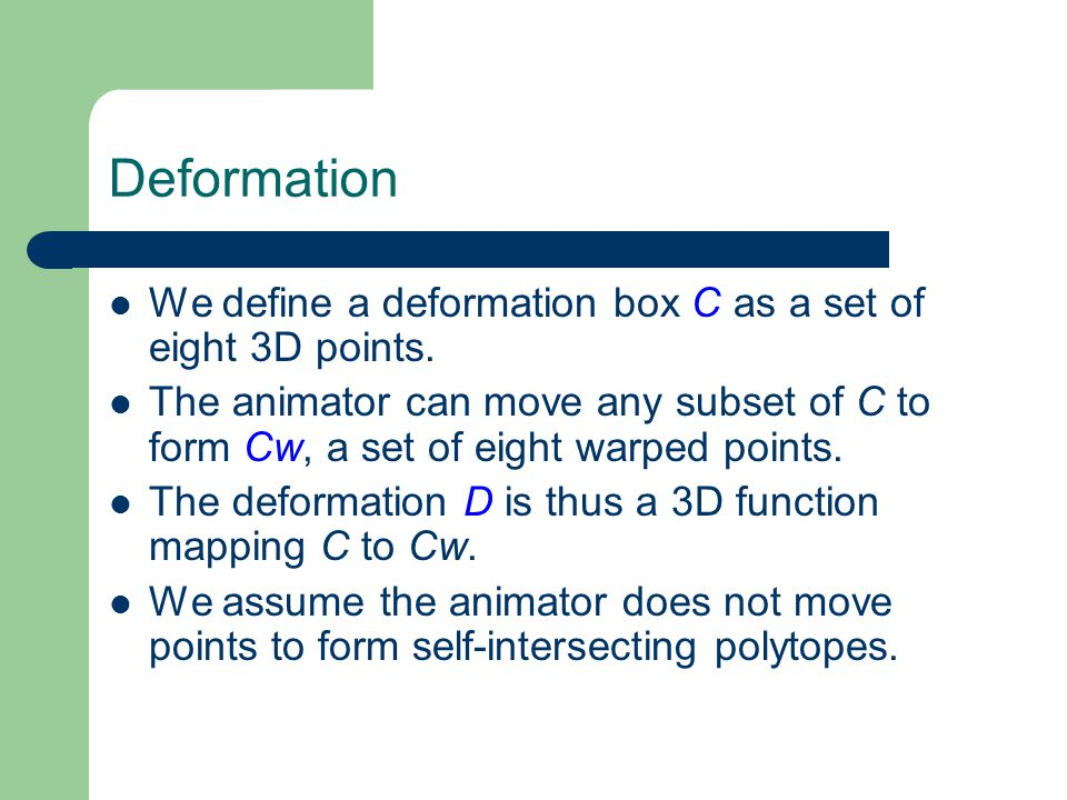 Deformation We define a deformation box C as a set of eight 3D points.