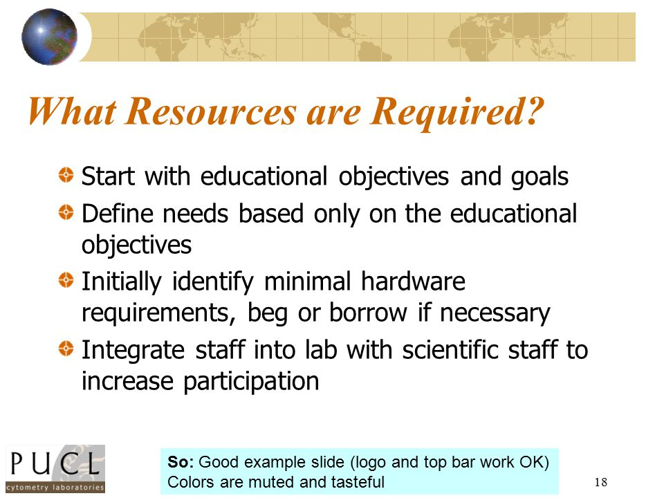 18 What Resources are Required? Start with educational objectives and goals Define needs based only on the educational objectives Initially identify m
