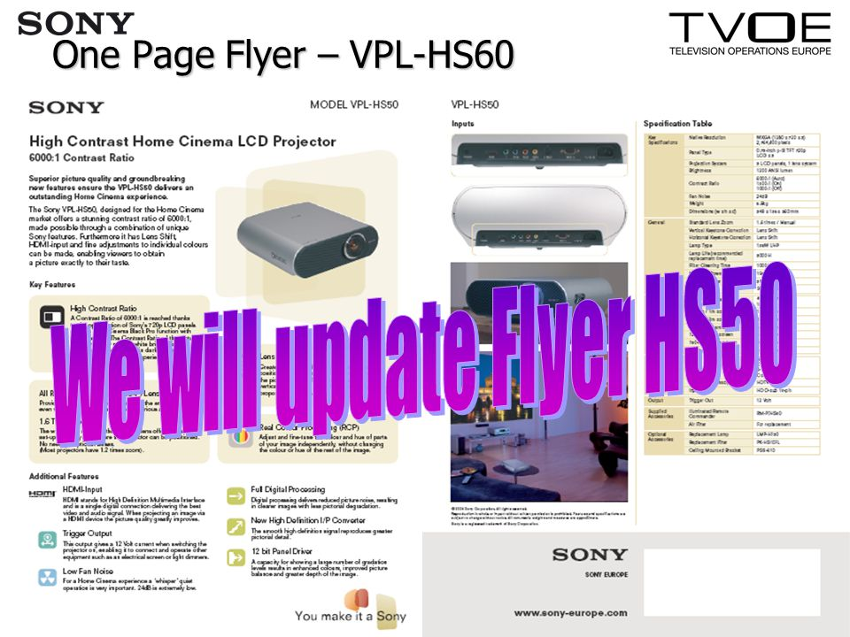 One Page Flyer – VPL-HS60