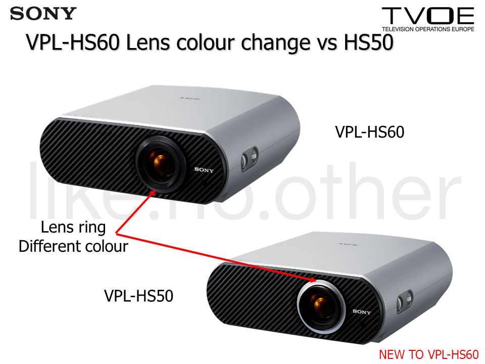 VPL-HS60 Lens colour change vs HS50 VPL-HS60 VPL-HS50 Lens ring Different colour NEW TO VPL-HS60