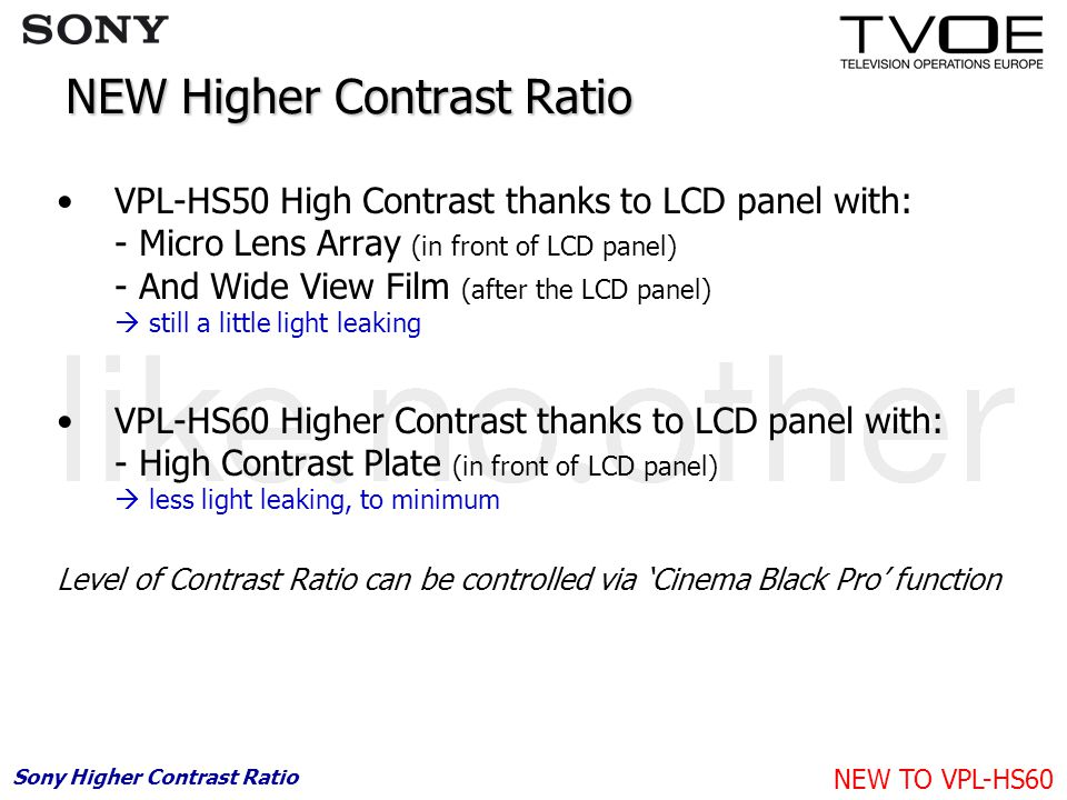 NEW Higher Contrast Ratio VPL-HS50 High Contrast thanks to LCD panel with: - Micro Lens Array (in front of LCD panel) - And Wide View Film (after the