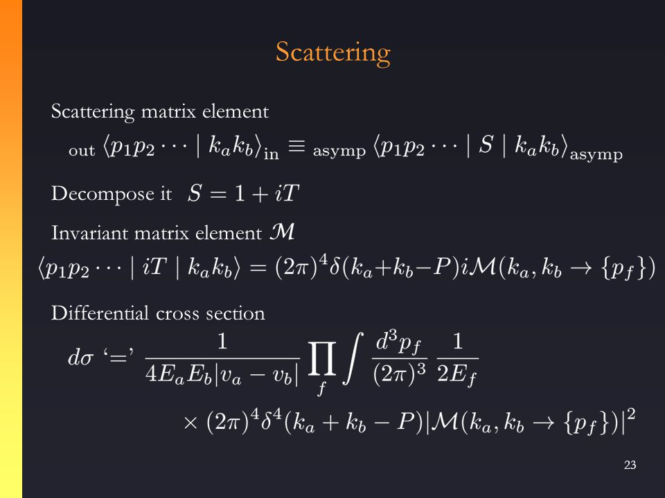 22 Construct a field-strength tensor in terms of components: Squaring it gives us a kinetic energy term, and the Lagrangian The m = 0 theory has scale invariance classically