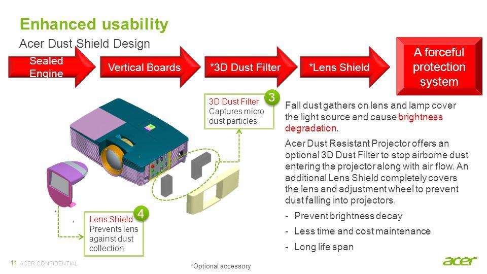 ACER CONFIDENTIAL 11 Sealed Engine Vertical Boards*3D Dust Filter*Lens Shield 3D Dust Filter Captures micro dust particles Lens Shield Prevents lens a