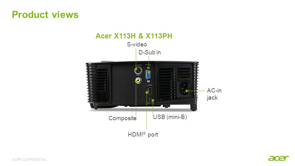 ACER CONFIDENTIAL Product views D-Sub in Composite S-video HDMI ® port AC-in jack USB (mini-B) Acer X113H & X113PH