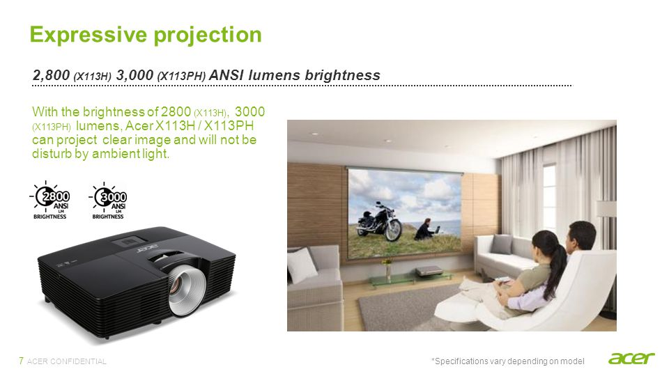 ACER CONFIDENTIAL Expressive projection Acer ColorBoost II+ technology with 2,800 (X113H) ANSI lumens 3,000 (X113PH) Acer ColorBoost II+ technology improves optical color performance based on lamp spectrum and color wheel properties, enhancing the natural color temperature to achieve optimal color balance and content-based color brightness.