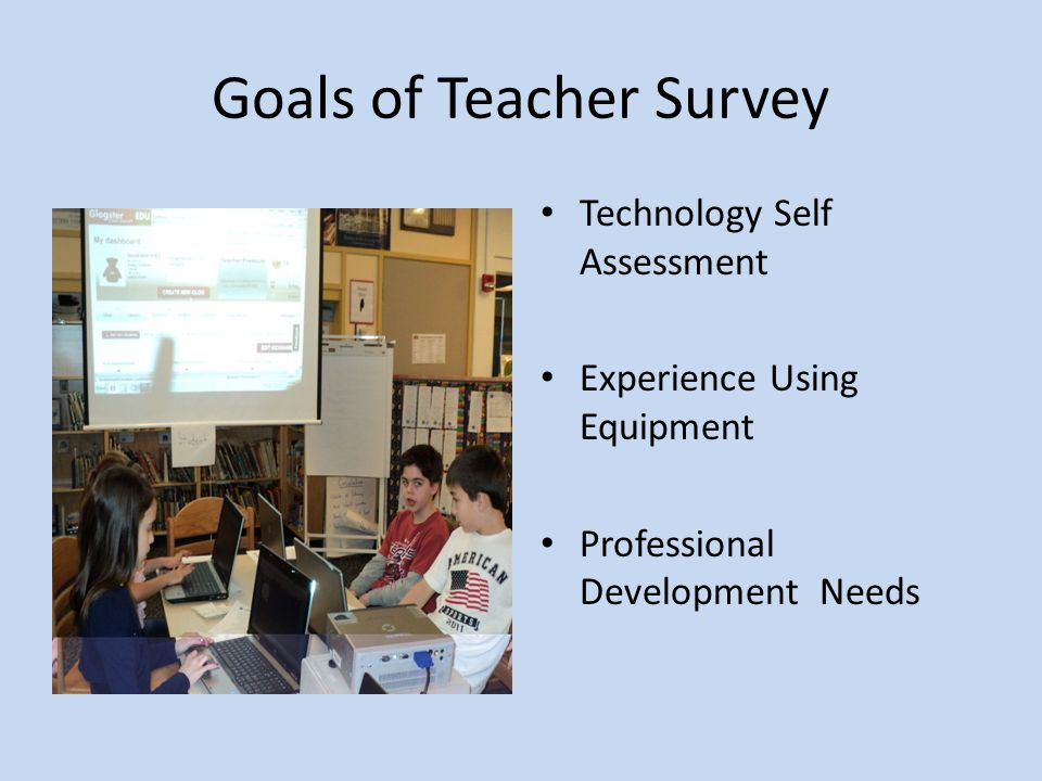 Goals of Teacher Survey Technology Self Assessment Experience Using Equipment Professional Development Needs