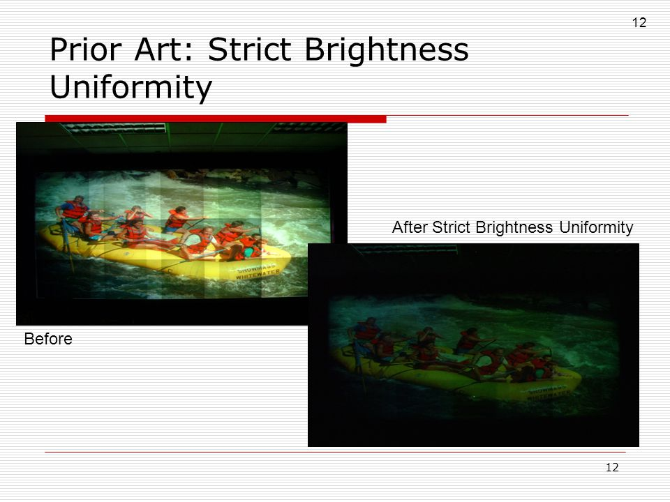 12 Before After Strict Brightness Uniformity Prior Art: Strict Brightness Uniformity