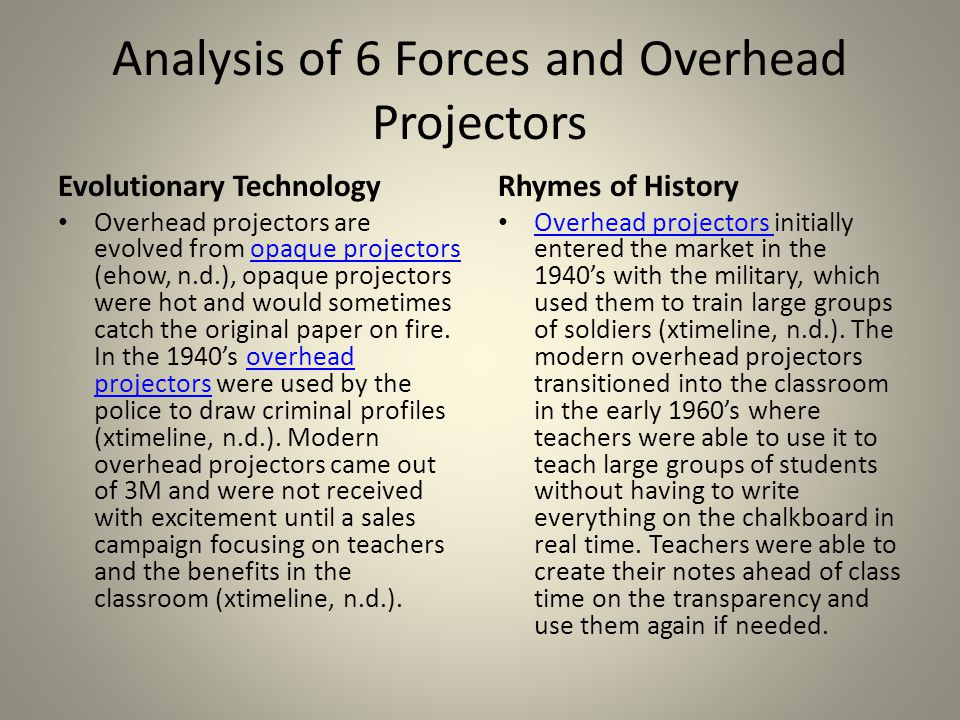 Analysis of 6 Forces and Overhead Projectors Science Fiction In the 1940's science fiction did not really influence the development of the overhead projector, rather it had a difficult time keeping up with reality (magicdragon.com, n.d.).