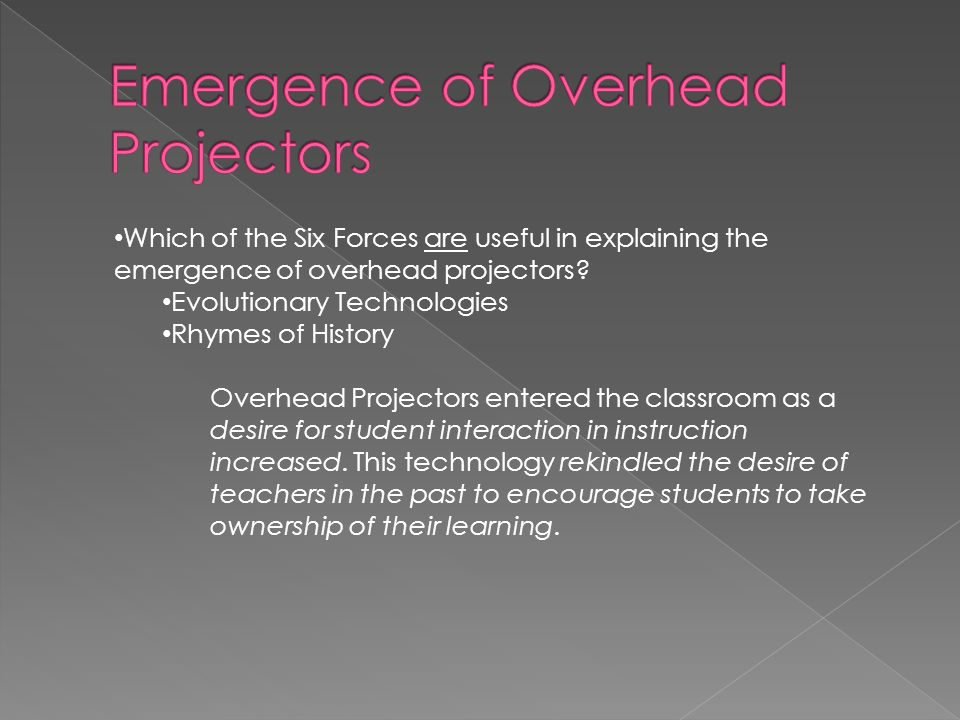 Which of the Six Forces are useful in explaining the emergence of overhead projectors.