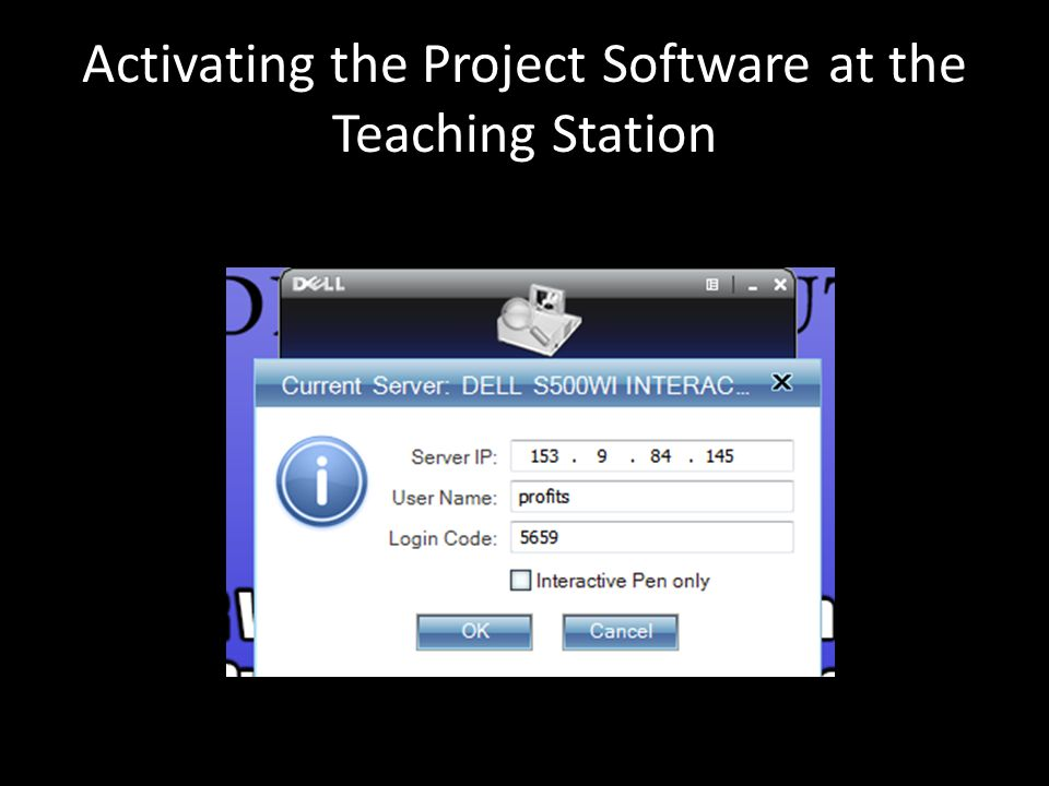 Activating the Project Software at the Teaching Station