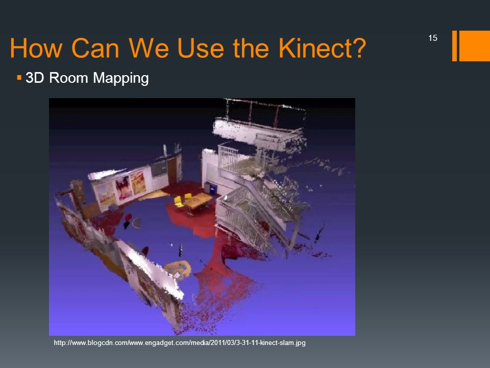 How Can We Use the Kinect?  3D Room Mapping http://www.blogcdn.com/www.engadget.com/media/2011/03/3-31-11-kinect-slam.jpg 15