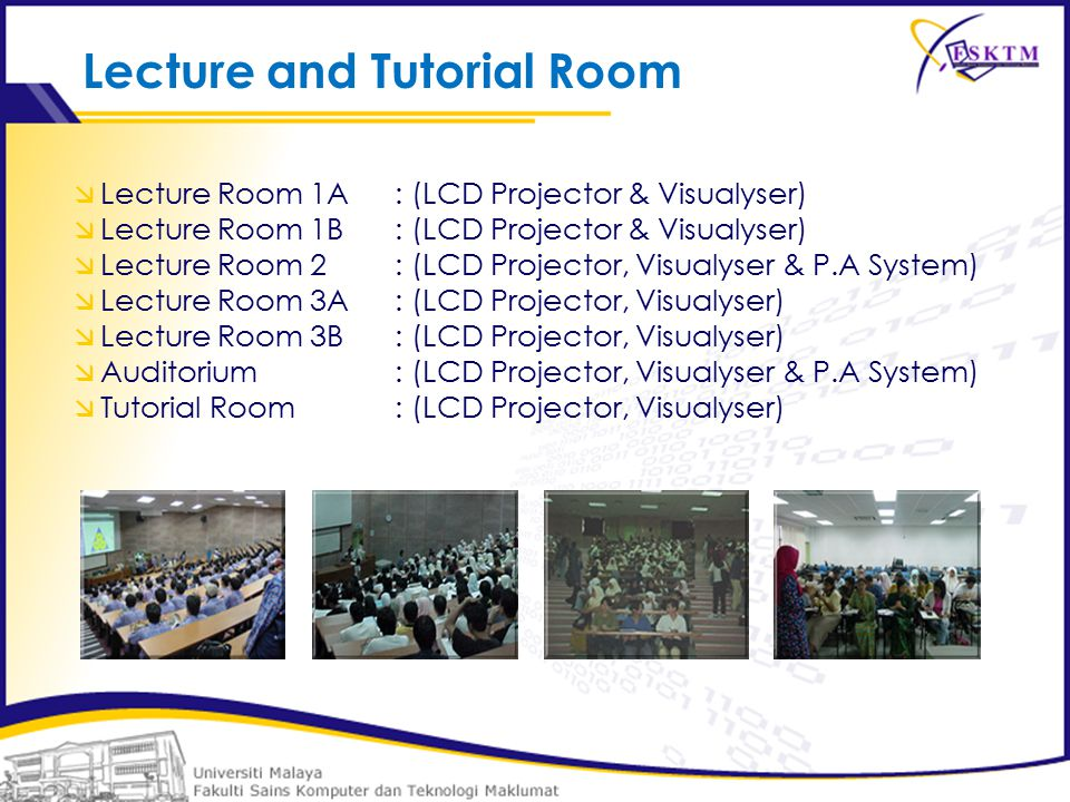  Lecture Room 1A: (LCD Projector & Visualyser)  Lecture Room 1B : (LCD Projector & Visualyser)  Lecture Room 2 : (LCD Projector, Visualyser & P.A System)  Lecture Room 3A : (LCD Projector, Visualyser)  Lecture Room 3B : (LCD Projector, Visualyser)  Auditorium : (LCD Projector, Visualyser & P.A System)  Tutorial Room : (LCD Projector, Visualyser) Lecture and Tutorial Room