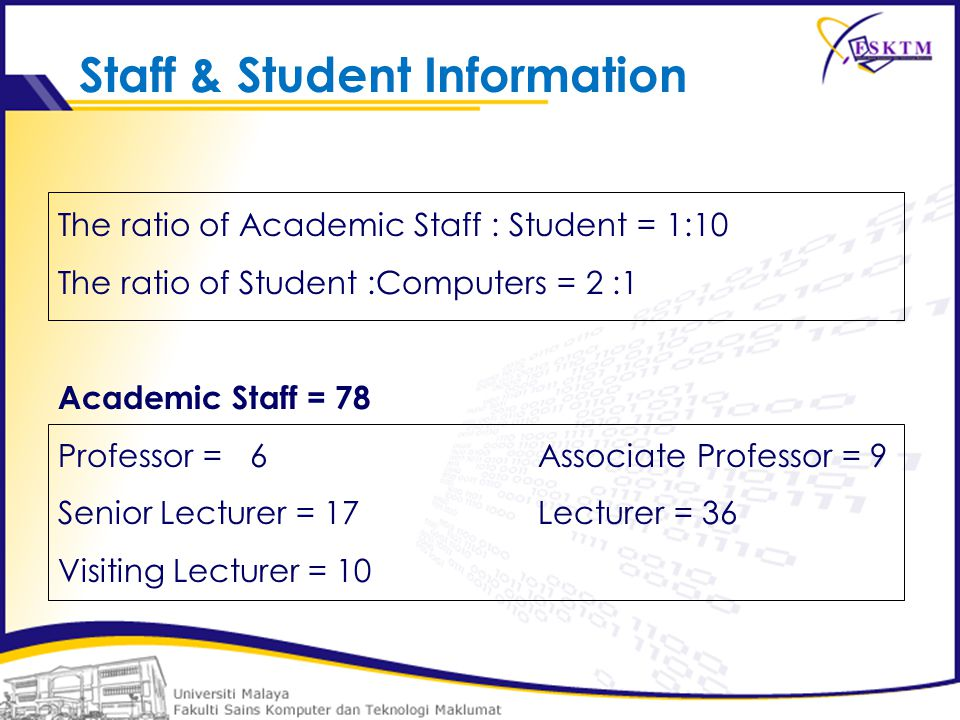 Staff & Student Information The ratio of Academic Staff : Student = 1:10 The ratio of Student :Computers = 2 :1 Academic Staff = 78 Professor =6Associate Professor = 9 Senior Lecturer = 17Lecturer = 36 Visiting Lecturer = 10