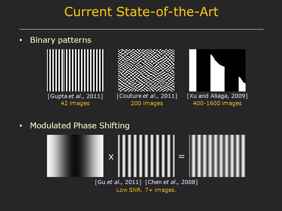 Current State-of-the-Art Binary patterns 42 images [Gupta et al., 2011] [Couture et al., 2011] 200 images [Xu and Aliaga, 2009] 400-1600 images Modulated Phase Shifting [Gu et al., 2011] [Chen et al., 2008] Low SNR.