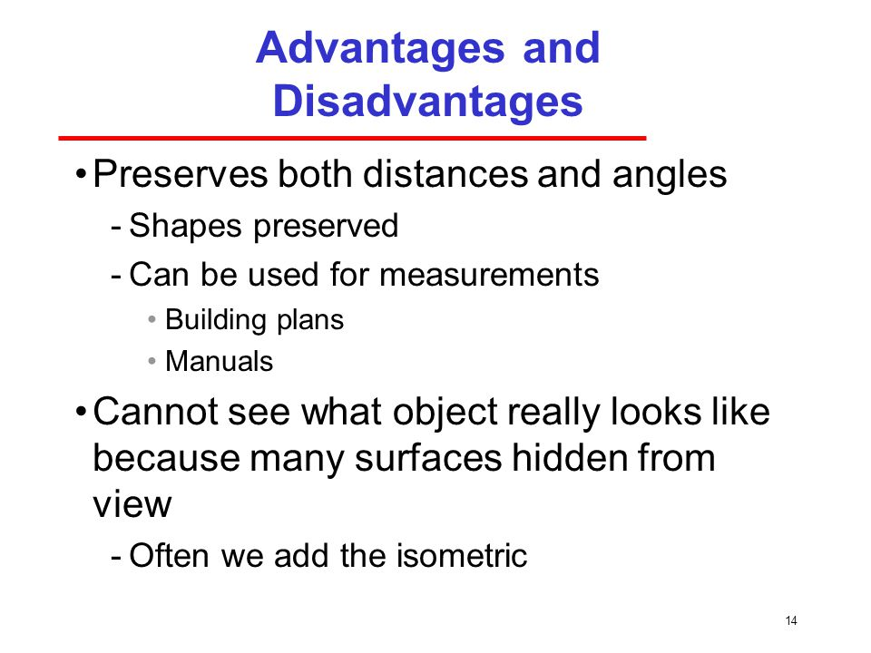 14 Advantages and Disadvantages Preserves both distances and angles ­Shapes preserved ­Can be used for measurements Building plans Manuals Cannot see what object really looks like because many surfaces hidden from view ­Often we add the isometric