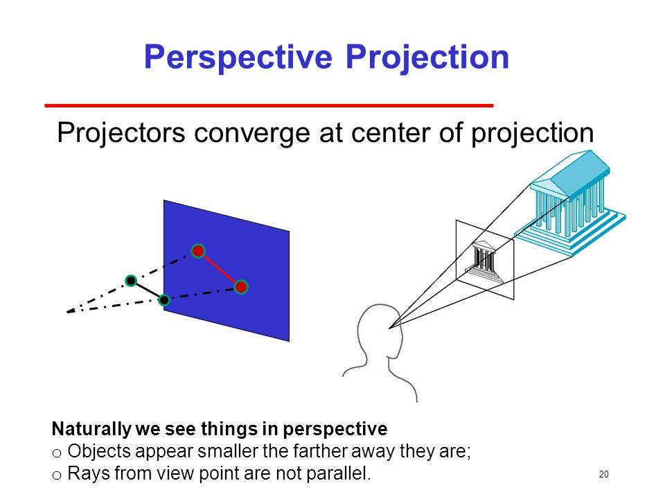 20 Perspective Projection Projectors converge at center of projection Naturally we see things in perspective o Objects appear smaller the farther away they are; o Rays from view point are not parallel.