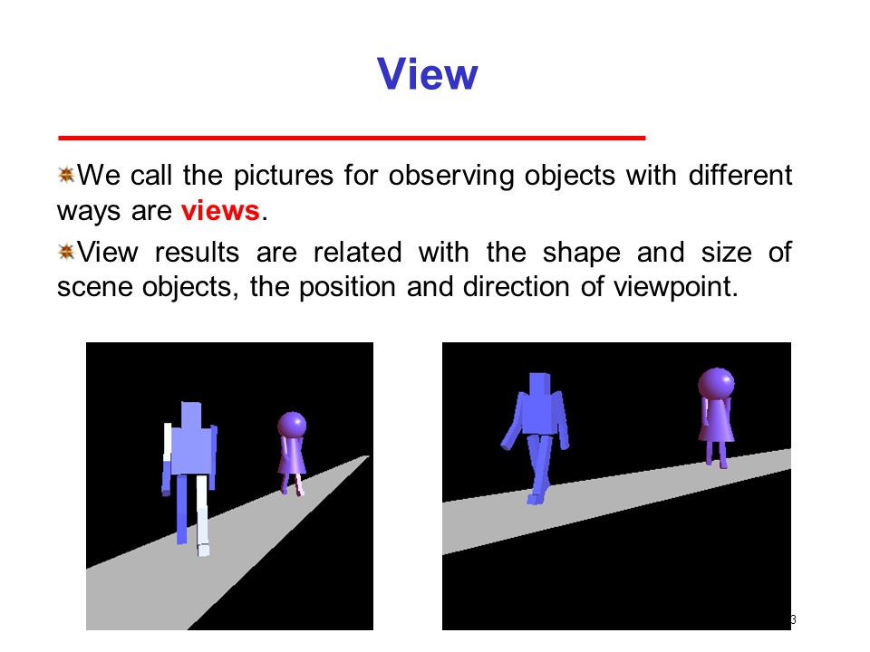 View 3 We call the pictures for observing objects with different ways are views.