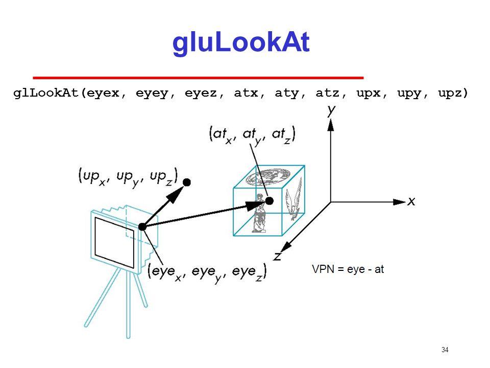 34 gluLookAt glLookAt(eyex, eyey, eyez, atx, aty, atz, upx, upy, upz)