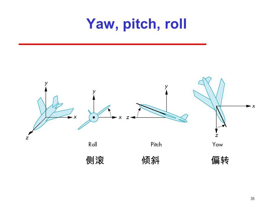 36 Yaw, pitch, roll 侧滚倾斜偏转