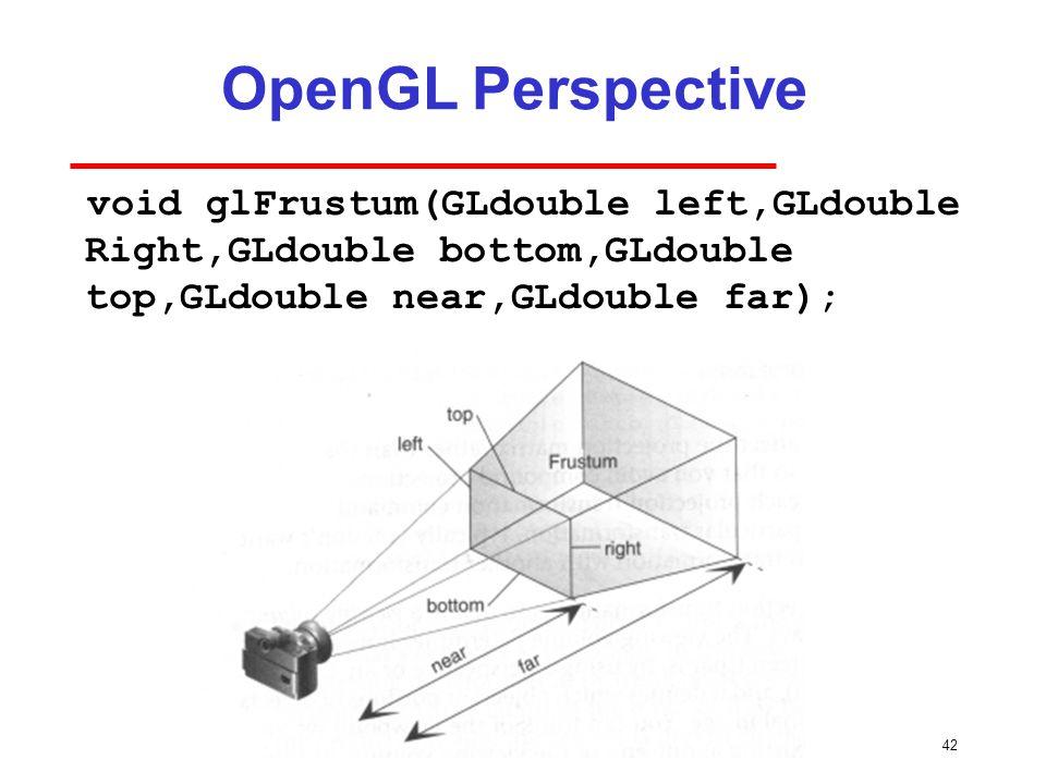 42 OpenGL Perspective void glFrustum(GLdouble left,GLdouble Right,GLdouble bottom,GLdouble top,GLdouble near,GLdouble far);