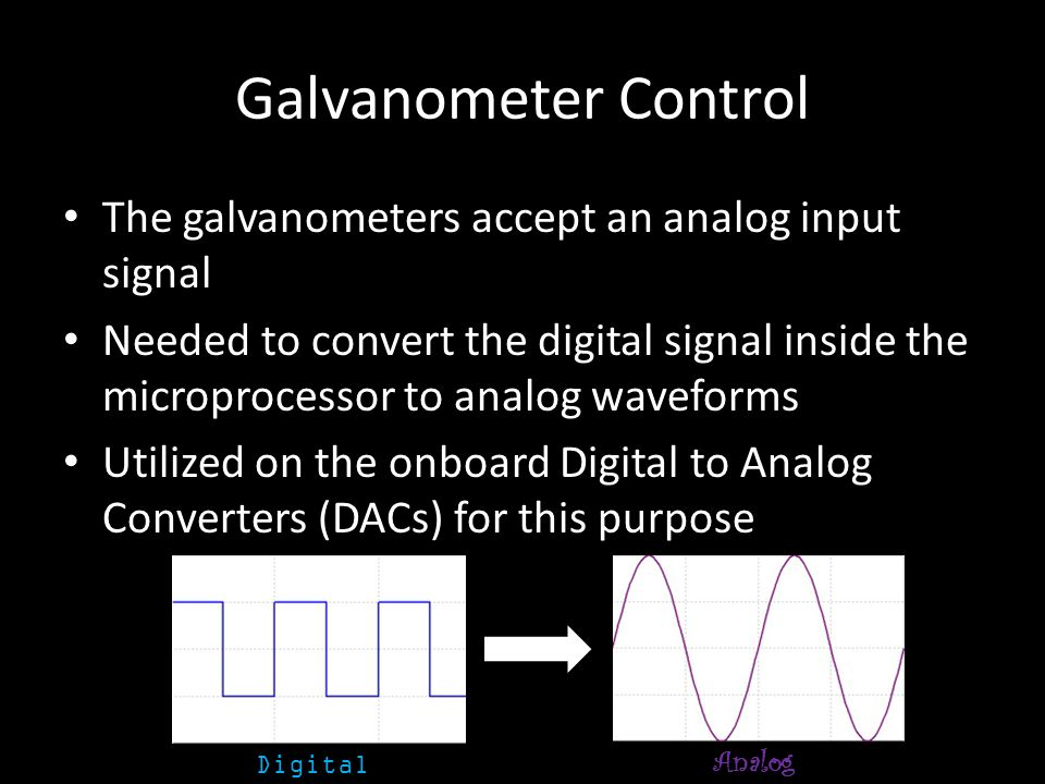 Galvanometer Control The galvanometers accept an analog input signal Needed to convert the digital signal inside the microprocessor to analog waveforms Utilized on the onboard Digital to Analog Converters (DACs) for this purpose Digital Analog