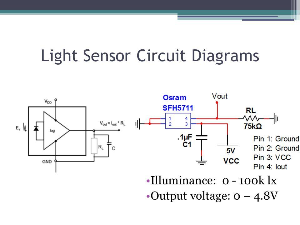 Light Sensor Circuit Diagrams Illuminance: 0 - 100k lx Output voltage: 0 – 4.8V