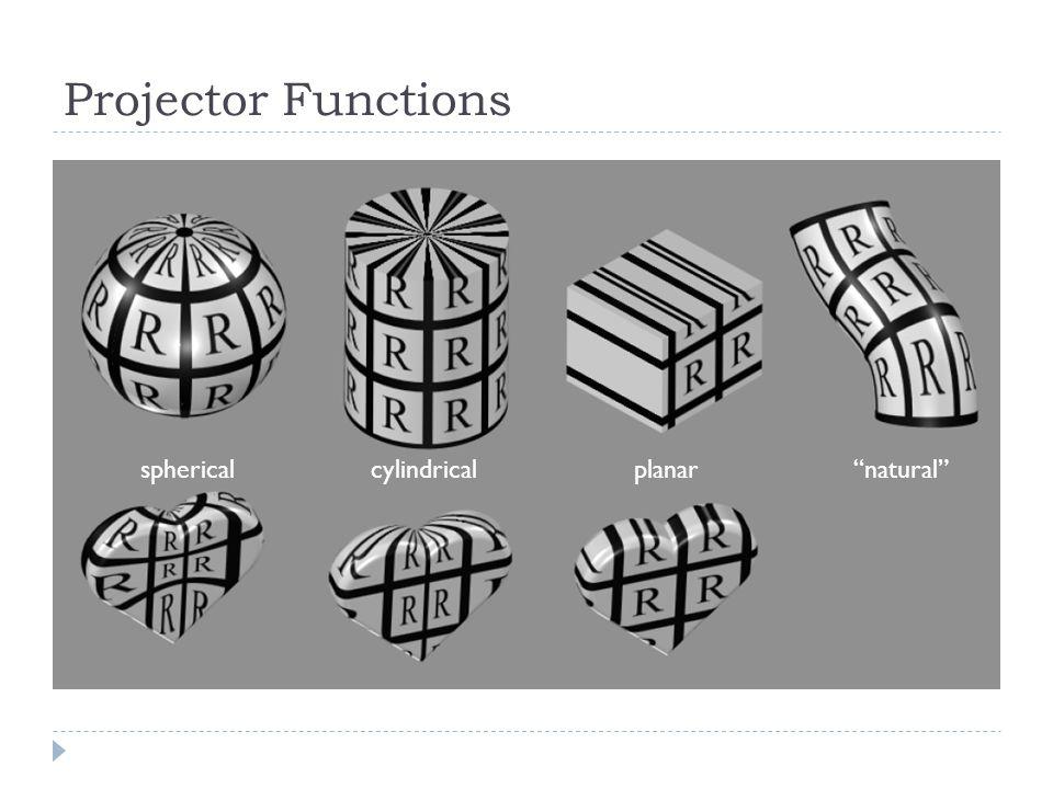Projector Functions sphericalcylindricalplanar natural
