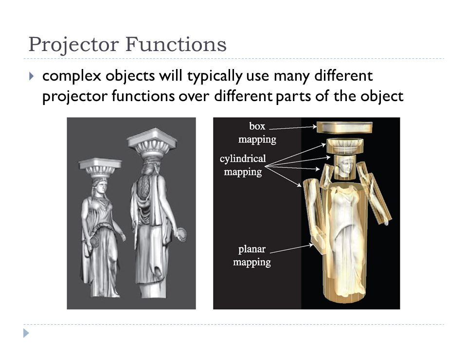 Projector Functions  complex objects will typically use many different projector functions over different parts of the object