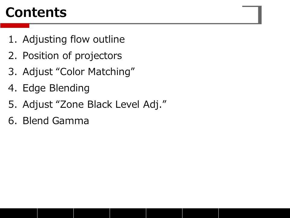 """Contents 1.Adjusting flow outline 2.Position of projectors 3.Adjust """"Color Matching"""" 4.Edge Blending 5.Adjust """"Zone Black Level Adj."""" 6.Blend Gamma"""