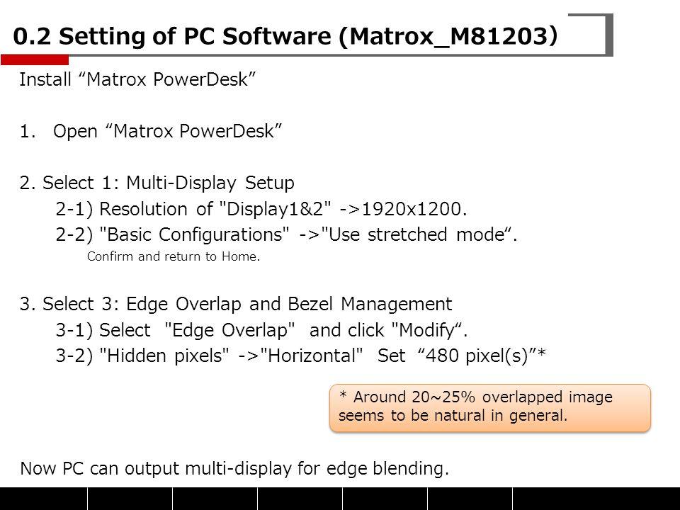 "0.2 Setting of PC Software (Matrox_M81203) Install ""Matrox PowerDesk"" 1.Open ""Matrox PowerDesk"" 2. Select 1: Multi-Display Setup 2-1) Resolution of"