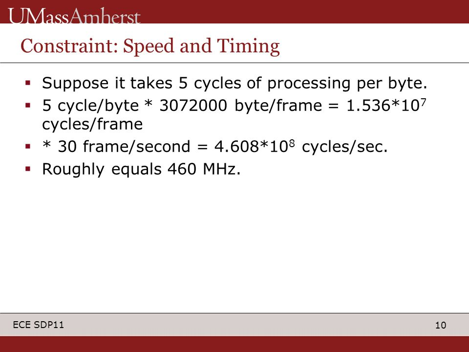 10 ECE SDP11 Constraint: Speed and Timing  Suppose it takes 5 cycles of processing per byte.