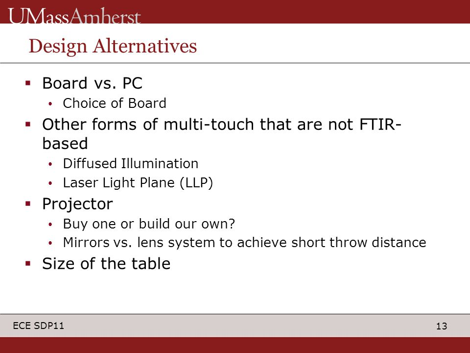 13 ECE SDP11 Design Alternatives  Board vs. PC Choice of Board  Other forms of multi-touch that are not FTIR- based Diffused Illumination Laser Ligh
