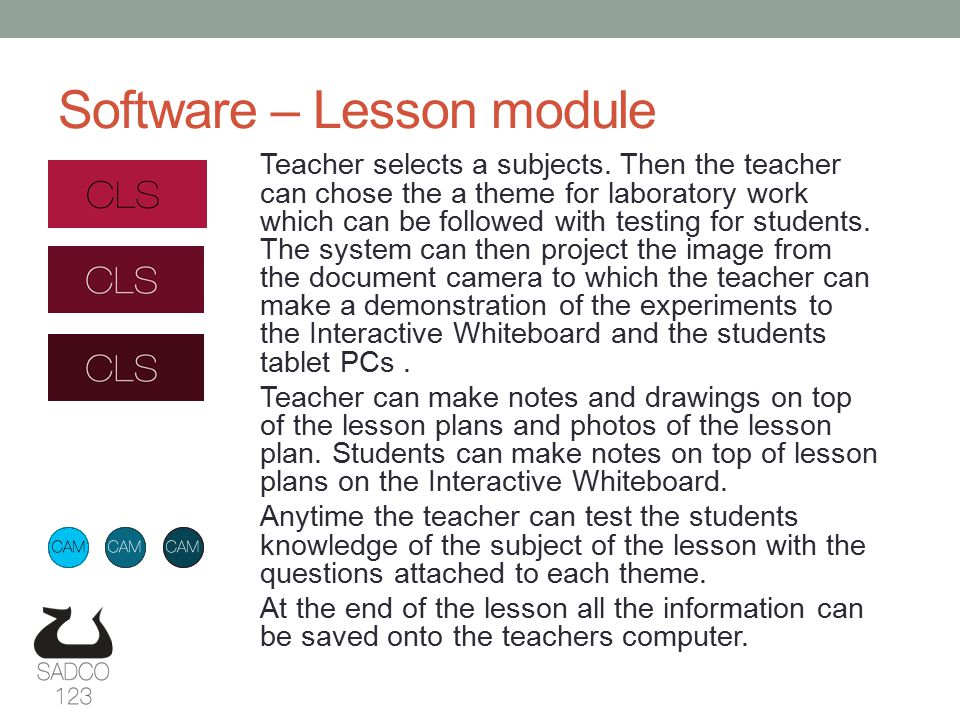 Software – Lesson module Teacher selects a subjects.