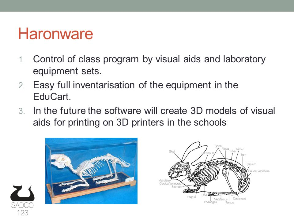 Haronware 1. Control of class program by visual aids and laboratory equipment sets.