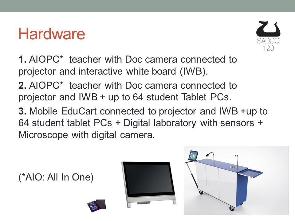 1. AIOPC* teacher with Doc camera connected to projector and interactive white board (IWB).