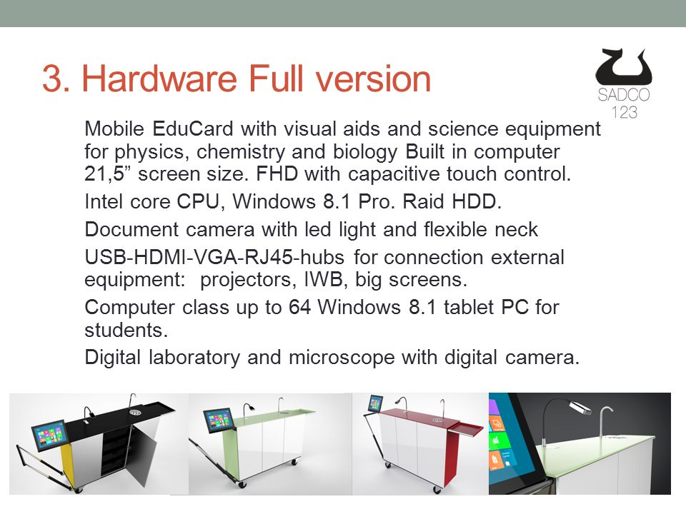 """3. Hardware Full version Mobile EduCard with visual aids and science equipment for physics, chemistry and biology Built in computer 21,5"""" screen size."""