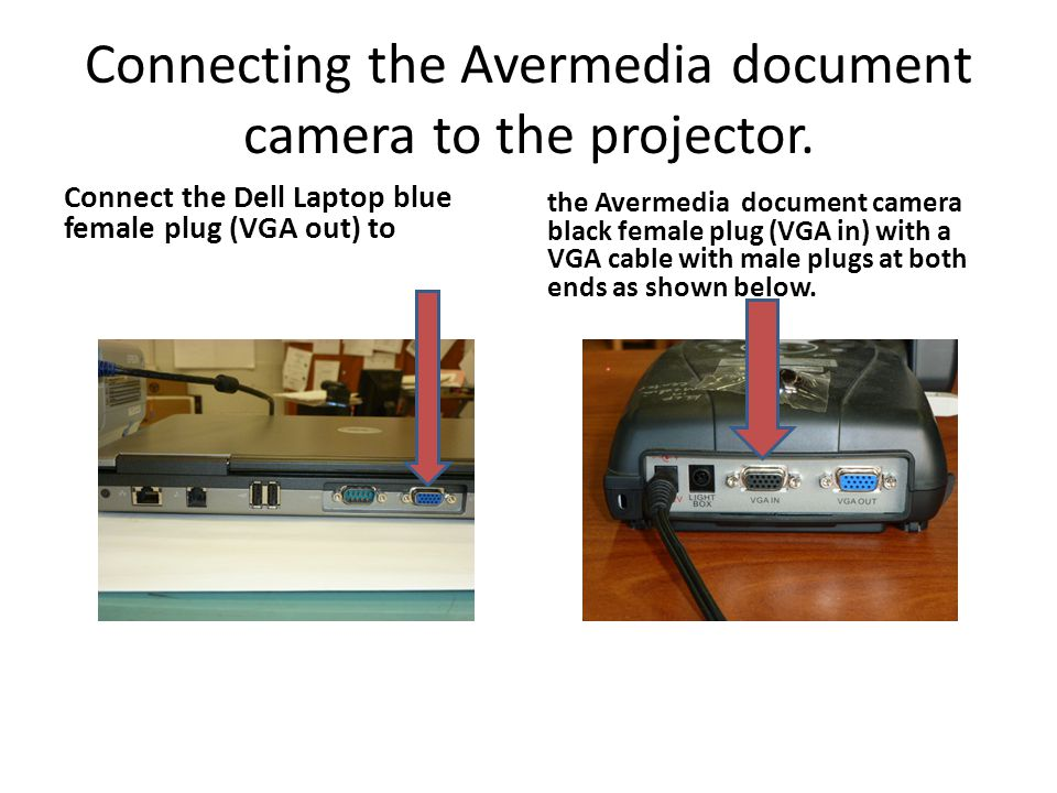 Connecting the Avermedia document camera to the projector.