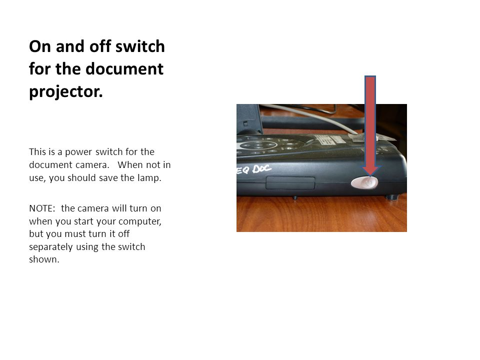 On and off switch for the document projector. This is a power switch for the document camera.