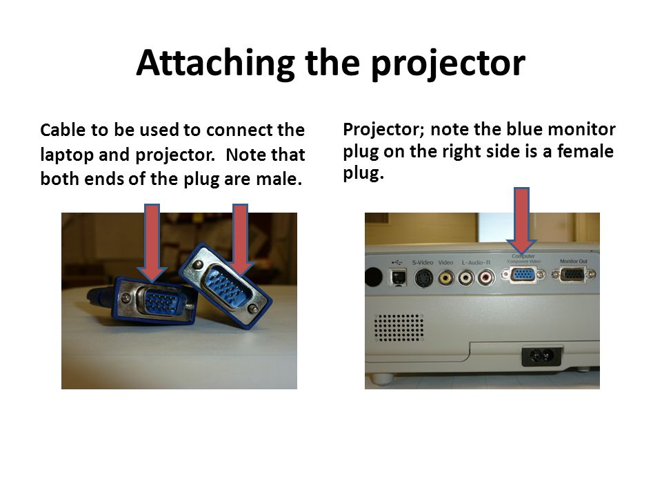 Attaching the projector Cable to be used to connect the laptop and projector.