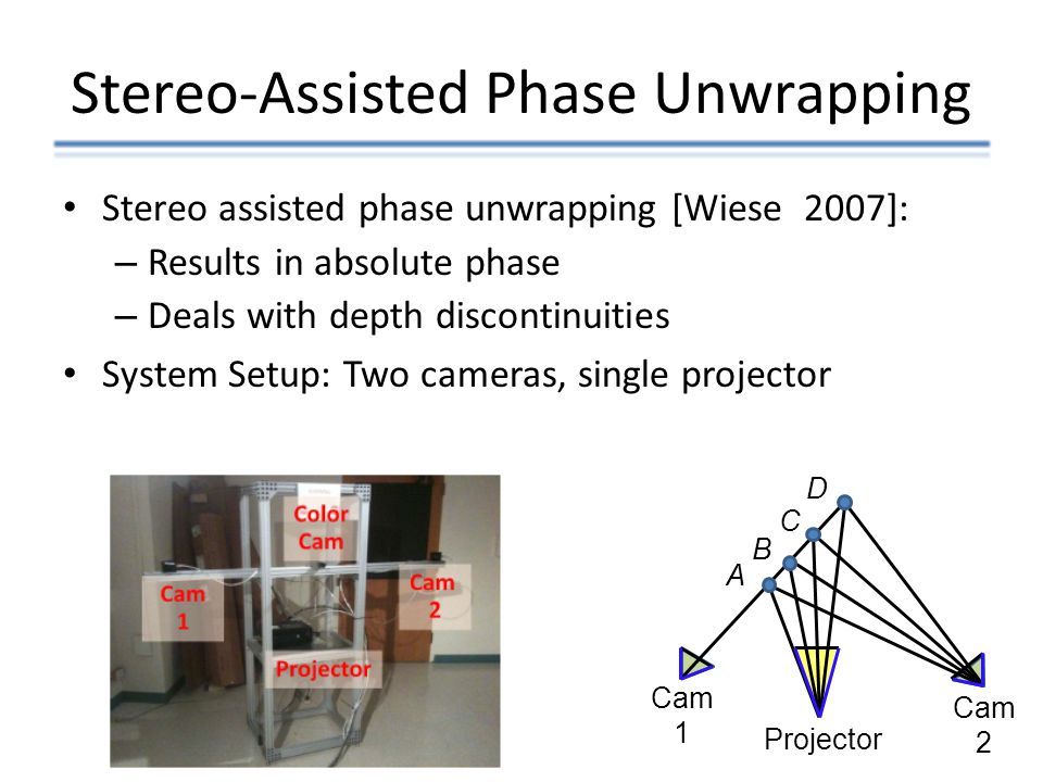 Stereo-Assisted Phase Unwrapping Stereo assisted phase unwrapping [Wiese 2007]: – Results in absolute phase – Deals with depth discontinuities System