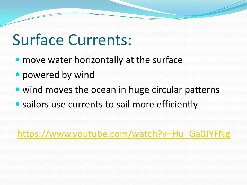 Coriolis Effect: The Earth's rotation affects ocean currents directly by causing currents to circle in opposite directions on either side of the equator.