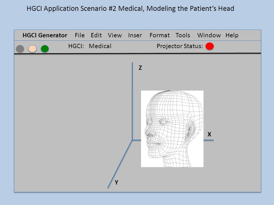 HGCI GeneratorFile Edit ViewInser t FormatTools Window Help Z X Y HGCI: MedicalProjector Status: HGCI Application Scenario #2 Medical, Modeling the Patient's Head